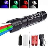 Multicolor LED Linterna Táctica con Zoom Linterna LED 4 en 1 con Luz Roja, Verde,...