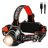 OMERIL Linterna Frontal LED, Linterna Cabeza USB Recargable 4000mAh, 90° Ajustable y...
