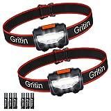 Gritin Linterna Frontal LED, [2 Pack] Linterna Cabeza COB Super Brillante 3 Modos...