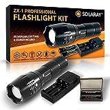 SOLARAY Linterna táctica LED de mano – Serie profesional ZX-1 – Super brillante...